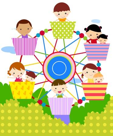 amusement park black and white: Illustration of ferris wheel with happy children  Illustration