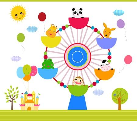 ferris wheel with happy animals Stock Vector - 16041866