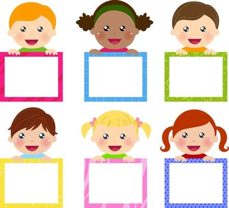 niño preescolar: niños y banners Vectores
