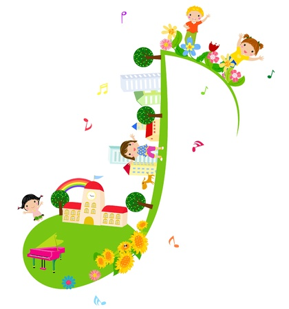 Children of music school  Illustration