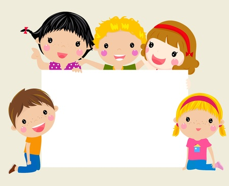 preschool child: Cute cartoon kids frame