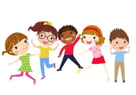 enfants: Les enfants sautant