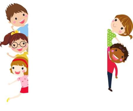 Enfants et bannière Vecteurs