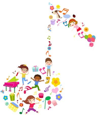 enfant qui court: enfants et de la musique Illustration