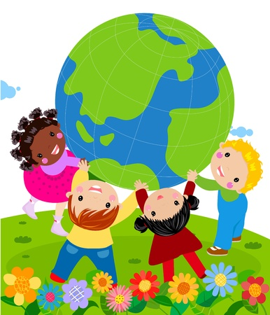 hands holding earth: World Unity Illustration