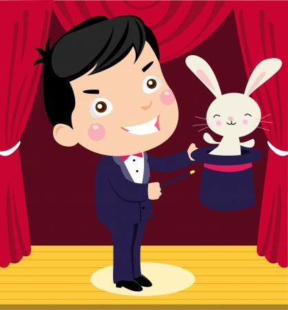 A happy cartoon magician pulling a rabbit out of his hat