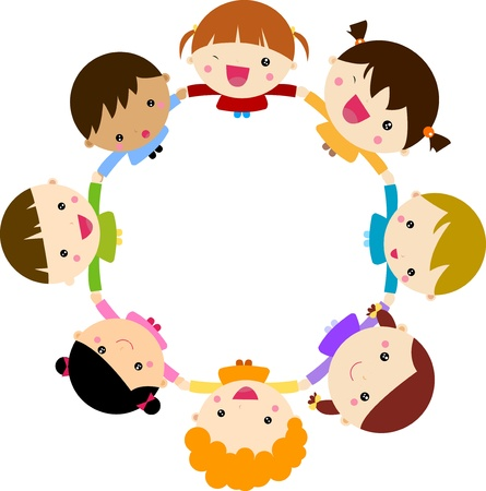 Children holding hands Vector