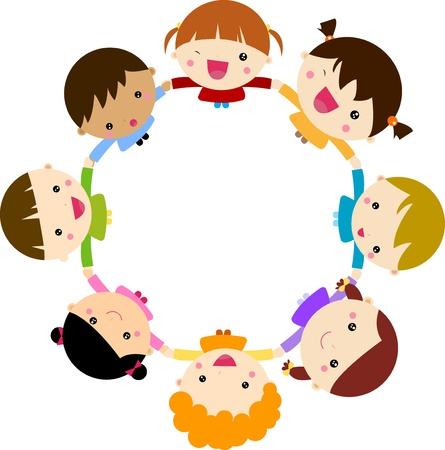 Kinderen, hand in hand Stock Illustratie