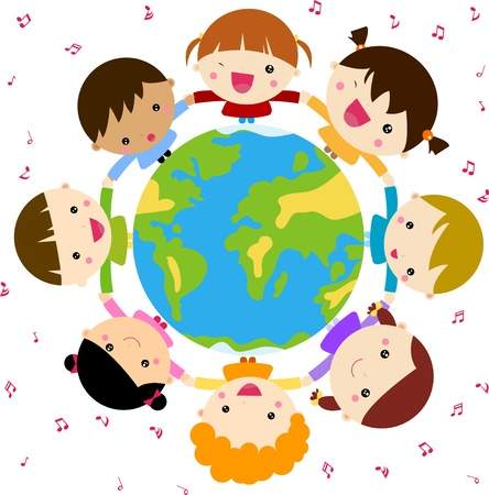 Children and globe Ilustracja