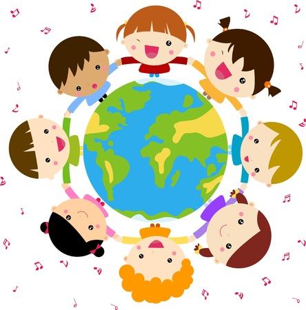 Children and globe Illustration