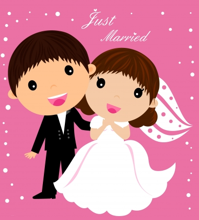 marriage cartoon: Illustration of Kids Playing Bride and Groom