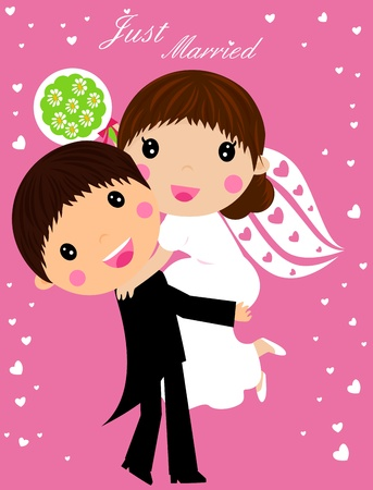 cartoon bouquet: Wedding - cartoon bride and groom