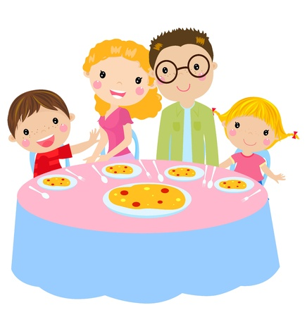 happy people eating: family dinner