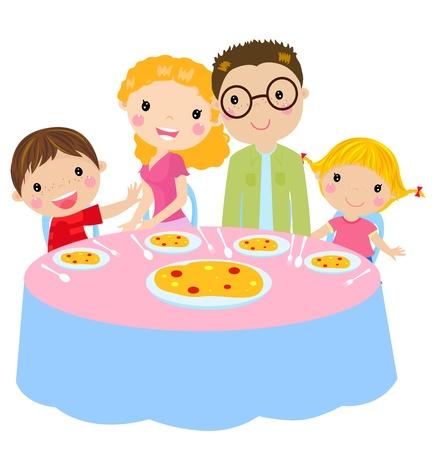 happy family: family dinner