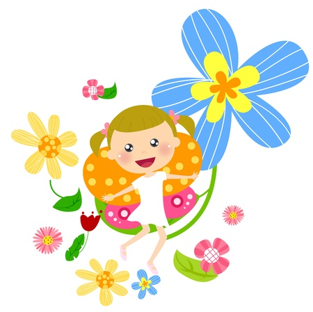 flower fairy and flower  Vector
