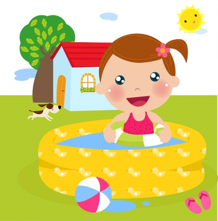 little girl bath: a girl in inflatable pool