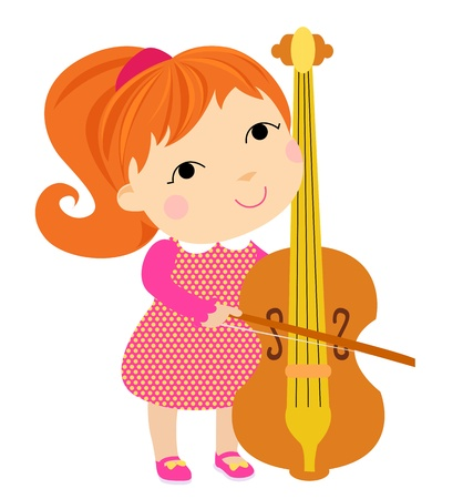 lovely girl playing cello Illustration
