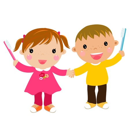cleanliness: kids with toothbrush