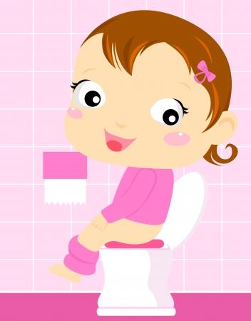t�pfchen: Baby M�dchen sitzen auf der Toilette