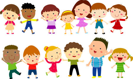 Vertical Group of Children  Vector