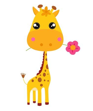 Zsiráfkölyök és virág illusztráció