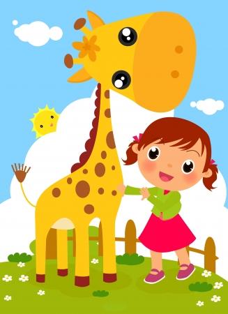 Cute little girl and giraffe 일러스트