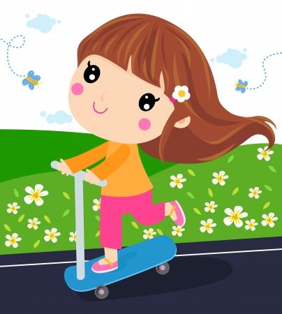 cute girl: Cute little girl on scooter
