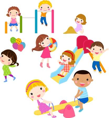 niños en area de juegos: niños jugando Vectores