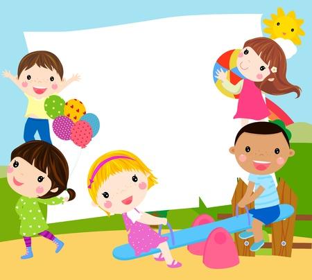 cheerful cartoon: Reproducci�n de los ni�os y el marco