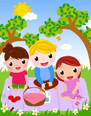 picnic park: Enjoy Picnic and Happy Days  Illustration