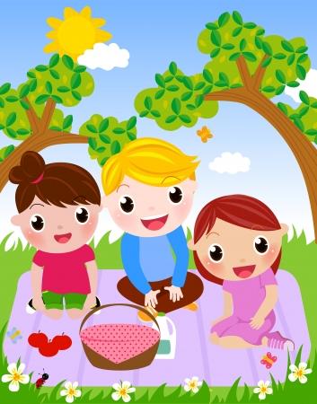 picnic basket: Enjoy Picnic and Happy Days  Illustration