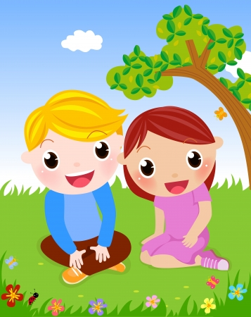 couples outdoors: boy and girl  Illustration