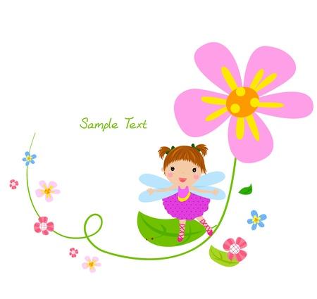 Blumenfee und Blumen Illustration