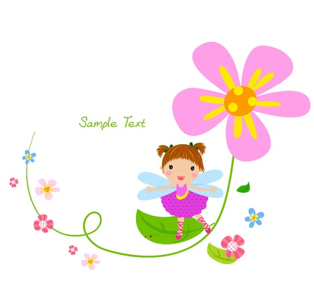 cartoon fairy: flower fairy and flower