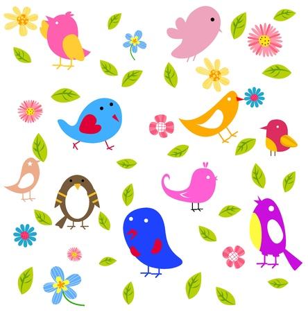 Blumen und Vögel nahtlose Muster Standard-Bild - 15821795