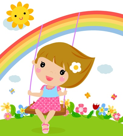 clouds: garden: Cartoon girl swinging  Illustration