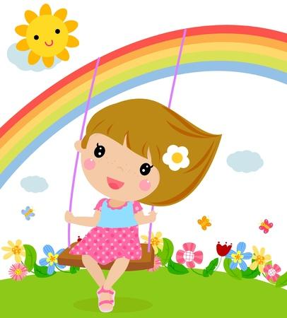 kids playground: Cartoon girl swinging  Illustration