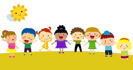 group of happy children Stock Vector - 16041886