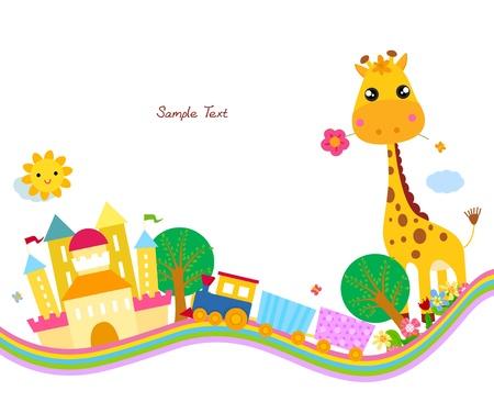cartoon train: cute background,giraffe  Illustration