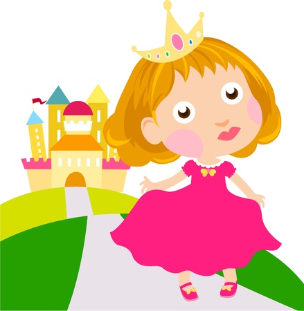 Little cute princess and castle Stock Vector - 15821786
