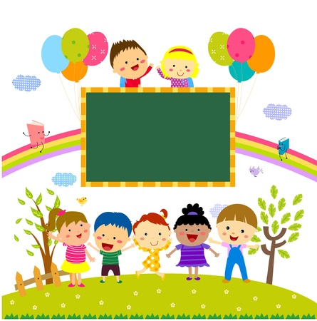 rainbow clouds: kids and blackboard