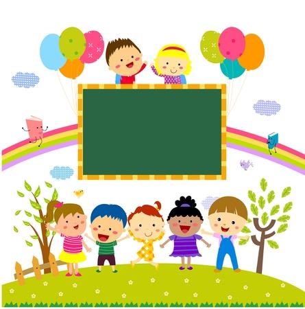 cloud clipart: kids and blackboard
