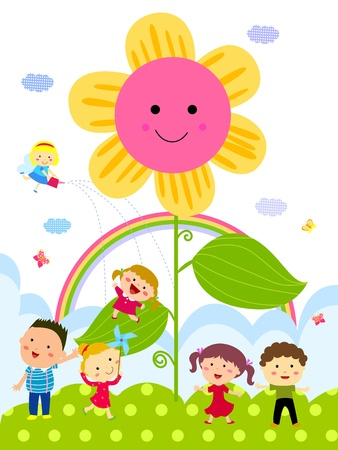school playground: Cartoon group of kids and flower Illustration