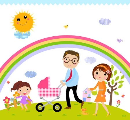 baby carriage: family time  Illustration