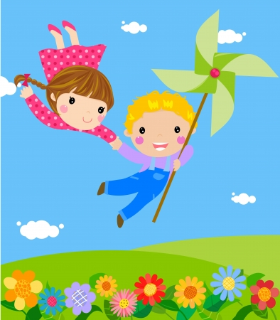 Little boy and girl  Vector