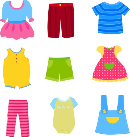 Baby and children clothes collection  Illustration