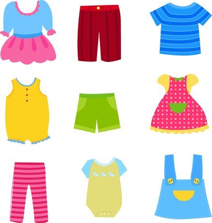 Baby-und Kinderkleidung Sammlung Vektorgrafik