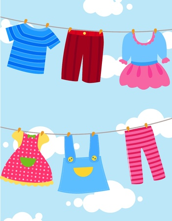 wet shirt: various clothes on washing line Illustration