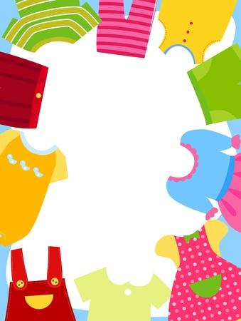 ふだん着: 子供服フレーム  イラスト・ベクター素材