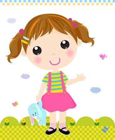 one girl: Girl with rabbit Illustration